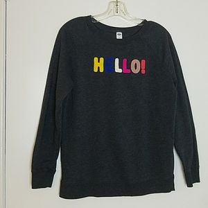 "Old Navy Small Sweat Shirt ""Hello"""